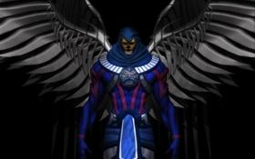 Обои костюм, фантастика, архангел, черный фон, крылья, взгляд