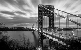 Картинка мост, река, Нью-Йорк, New York City, George Washington Bridge