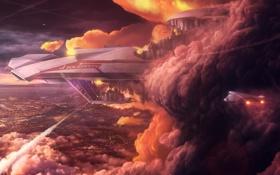 Обои дым, город, взрыв, rahll, самолет, арт, корабль