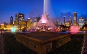 Картинка США, фонтан, ночь, огни, город, Chicago, Иллиноис