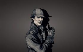 Обои темный фон, трубка, Шерлок Холмс, Бенедикт Камбербэтч, Benedict Cumberbatch, Sherlock Holmes