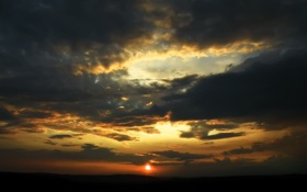 Картинка небо, солнце, облака, закат, обои, картинки, тень