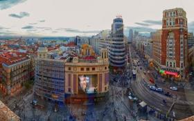 Обои небо, улица, дома, Испания, квартал, Мадрид