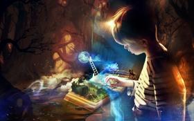 Картинка цветок, фантазия, ребенок, мальчик, лестница, книга, всадник
