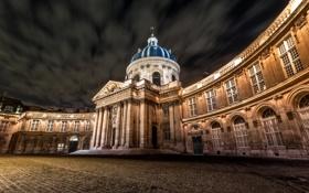 Обои ночь, огни, Франция, Париж, площадь, купол, Институт Франции