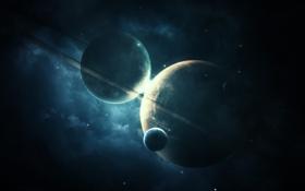 Картинка звезды, планеты, кольца, астероиды, спутники