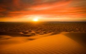 Картинка закат, природа, пустыня, Morocco