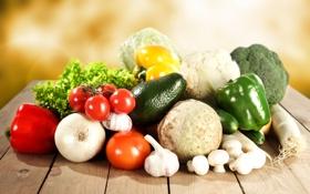 Обои лук, капуста, овощи, гребы, редька, помидоры, огурцы