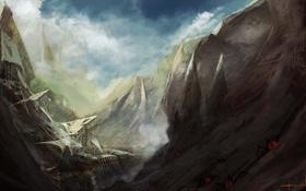 Обои горы, камни, фантастика, скалы, пауки, станция, арт