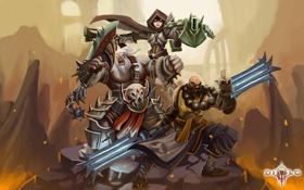 Обои на демонов, варвар, лава, трио, герои, diablo 3, охотник