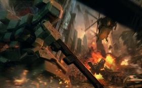 Обои бой, пушка, Front mission, ванзеры
