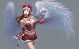Картинка девушка, шапка, шар, крылья, костюм, рога, redpeggy