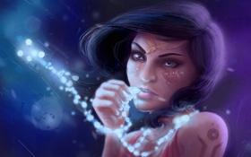 Обои взгляд, девушка, лицо, фантастика, узоры, арт, кристаллы