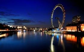 Картинка река, лондон, колесо