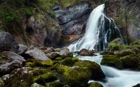 Картинка мох, горы, вода, камни, водопад