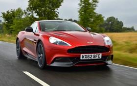 Обои Aston Martin, Красный, Машина, Капот, Астон, Фары, передок