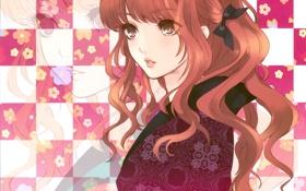 Обои глаза, девушка, цветы, узор, шатенка, кимоно