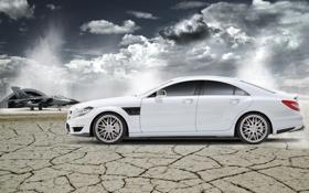 Обои белый, пустыня, Mercedes-Benz, CLS, истребитель, ангар, white