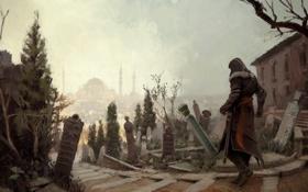 Обои город, кладбище, ассасин, эцио, константинополь, Assassin's Creed: Revelations