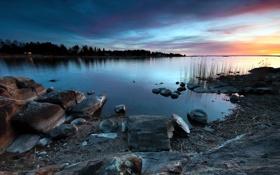 Картинка пейзаж, закат, озеро, камни