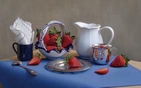 Обои ягоды, клубника, кружка, кувшин, натюрморт, вазочка, салфетки