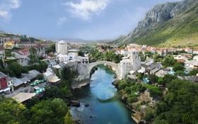 Картинка мост, река, Mostar, Мостар