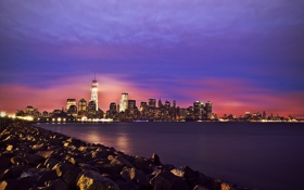 Обои One World Trade Center, облака, ночь, Соединенные Штаты, зеркала, огни, 1WTC