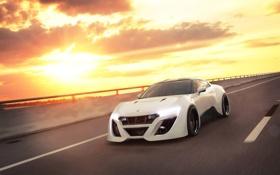 Картинка белый, солнце, блики, Nissan, white, GT-R, ниссан