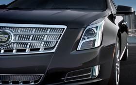 Обои передок, эмблема, Cadillac, седан, серый, решетка радиатора, кадилак