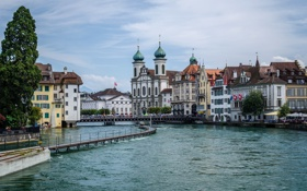 Обои небо, мост, люди, дома, Швейцария, набережная, Люцерн