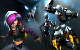 Обои оружие, Девушка, монстр, эмблема, бойцы, костюмы