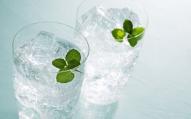 Обои glass, ice, water, cold, mint, mineral water