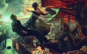 Обои люди, дождь, китай, мечи, рынок