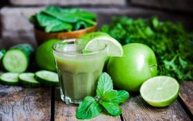 Обои зелень, яблоко, сок, лайм, огурцы, lime, cucumber