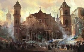 Обои город, здание, церковь, Assassins Creed IV Black Flag