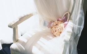 Обои цветы, кресло, стул, сумка