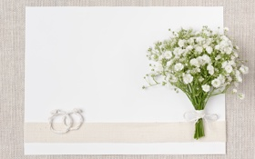 Обои wedding, bouquet, white, ring, букет, flowers, свадьба