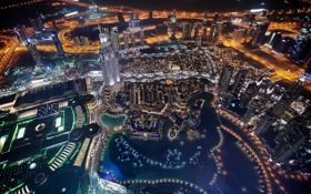Обои night, city, dubai, united arab emirates, lake