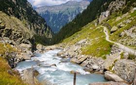 Картинка деревья, горы, природа, река, поток