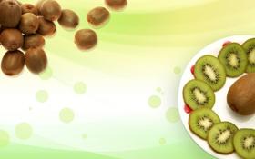 Картинка фон, обои, еда, киви, тарелка, фрукты, зелёненький