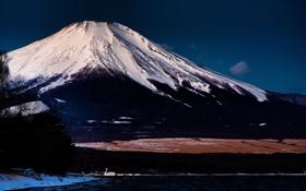 Картинка озеро, гора, вулкан, Япония, Фуджи
