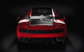 Обои авто, Lamborghini, спойлер, Gallardo, вид сзади, ламборгини, Super Trofeo Stradale