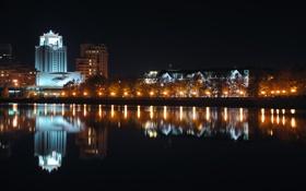 Обои ночь, река, набережная, екатеринбург, исеть, плотинка