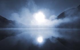 Картинка туман, ночь, горы, свет, озеро, гладь