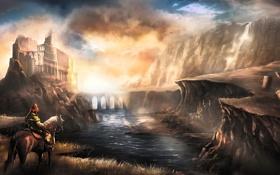 Картинка обломки, вода, девушка, облака, закат, мост, озеро