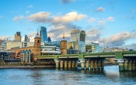 Картинка мост, река, Лондон, дома, Великобритания, набережная