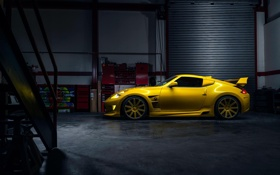 Обои Nissan, Car, Yellow, Side, Sport, View, 370Z