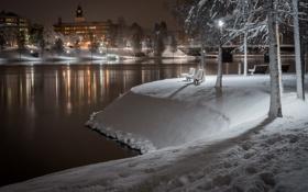 Картинка снег, ночь, река, скамья