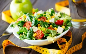 Обои сантиметр, зелень, салат, яблоко