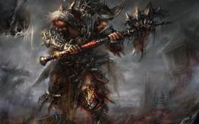Обои варвар, рога, шипы, кровь, нежить, доспехи, Diablo